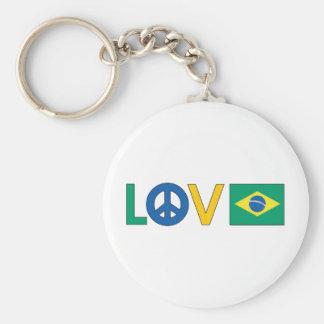 Love Peace Brazil Basic Round Button Keychain