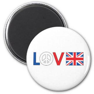 Love Peace Britain 2 Inch Round Magnet
