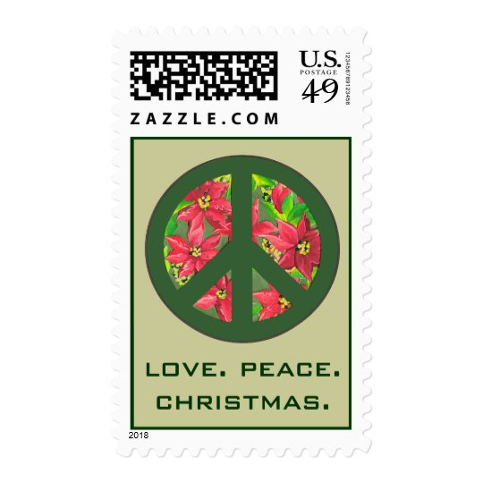 love peace christmas stamp