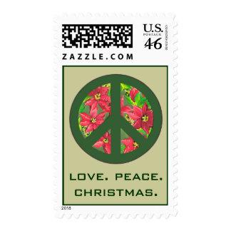 love peace christmas stamp
