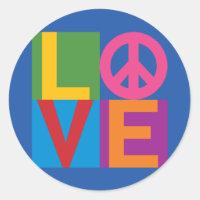 Love Peace Color Block Classic Round Sticker