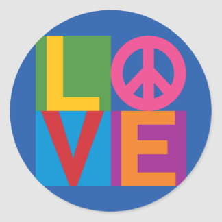 Love Peace Color Block Classic Round Sticker