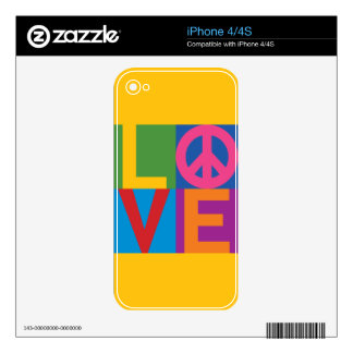 Love Peace Color Block iPhone 4 Skin