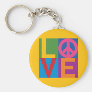 Love Peace Color Block Keychain