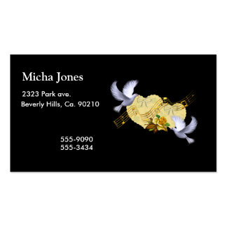 Love Peace Doves & Music Yellow Rose Double-Sided Standard Business Cards (Pack Of 100)