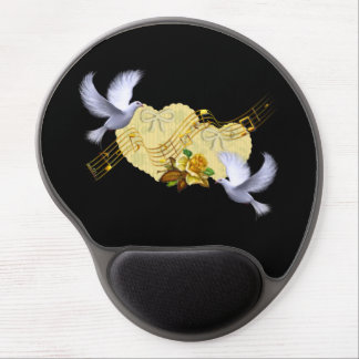 Love Peace Doves & Music Yellow Rose Gel Mouse Pads