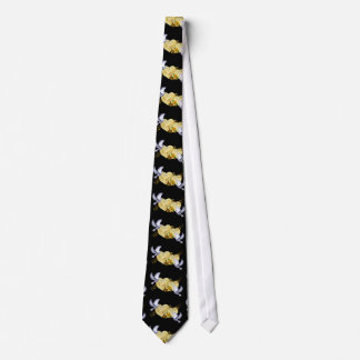 Love Peace Doves & Music Yellow Rose Neck Tie