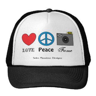 LOVE PEACE FAME TRUCKER HAT