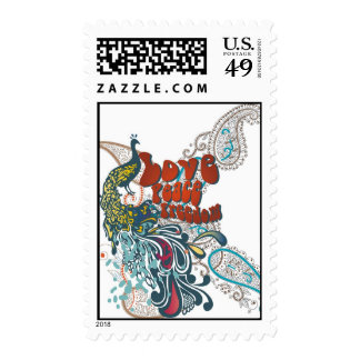 Love, Peace, Freedom Peacock Stamp