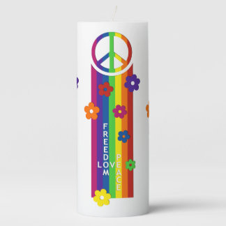 LOVE PEACE FREEDOM Stripes Flowers Pillar Candle
