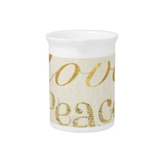 Love,peace,gold,typography,rustic,floral,vintage,c Pitchers