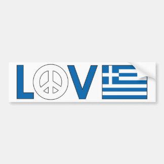 Love Peace Greece Car Bumper Sticker