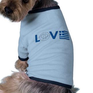 Love Peace Greece Dog Clothing
