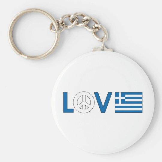 Love Peace Greece Keychain
