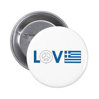 Love Peace Greece Pinback Buttons
