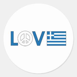 Love Peace Greece Round Stickers