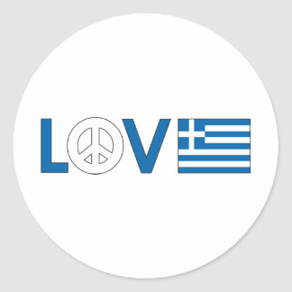 Love Peace Greece Classic Round Sticker