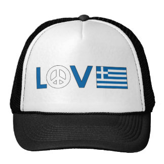 Love Peace Greece Trucker Hats