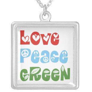Love, Peace, Green custom necklace