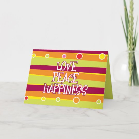 Love Peace Happiness Card Zazzle Awesome Love Peace Happiness