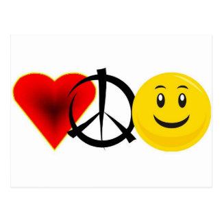 Love Peace Happiness Postcard