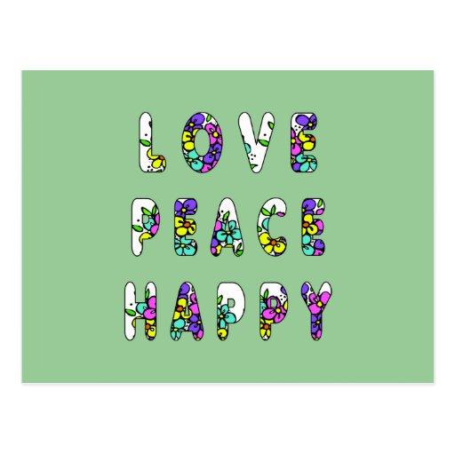 Love Peace Happy Flowers Postcards