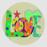 Love PEACE & Harmony T-Shirts and Gifts Round Stickers