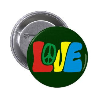 Love Peace hippie Pin Redondo De 2 Pulgadas