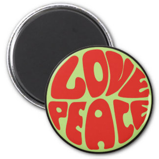 love peace hippie saying 2 inch round magnet