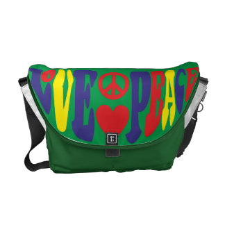 Love Peace hippie saying Courier Bag