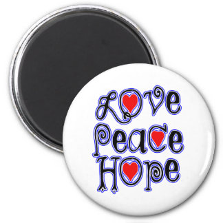 love peace hope 2 inch round magnet