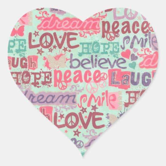 Love Peace Hope Believe Smile Heart Sticker