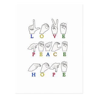 LOVE PEACE HOPE FINGERSPELLED ASL SIGN POSTCARD