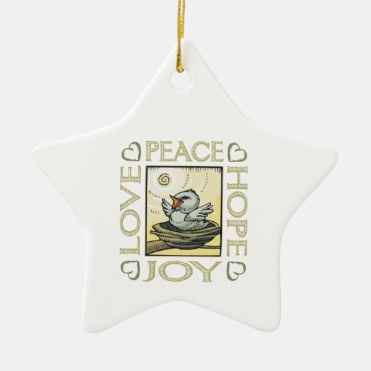 Love, Peace, Hope, Joy Ceramic Ornament