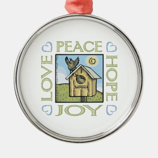 Love, Peace, Hope, Joy Metal Ornament