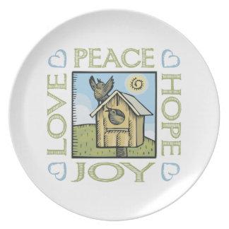 Love, Peace, Hope, Joy Dinner Plates