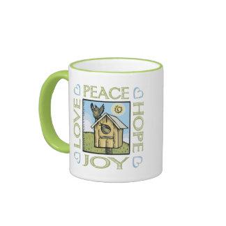 Love, Peace, Hope, Joy Ringer Mug