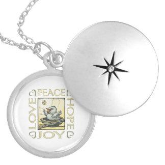 Love, Peace, Hope, Joy Round Locket Necklace