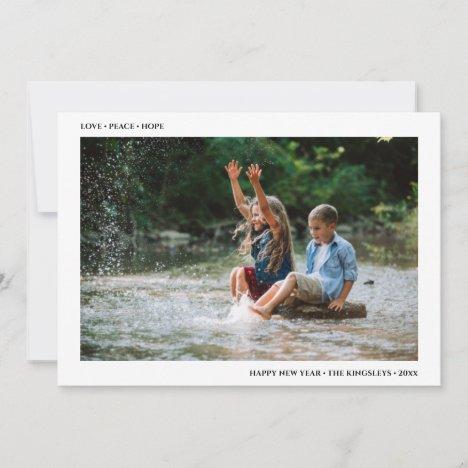 Love Peace Hope | Minimalist Happy New Year Photo Holiday Card