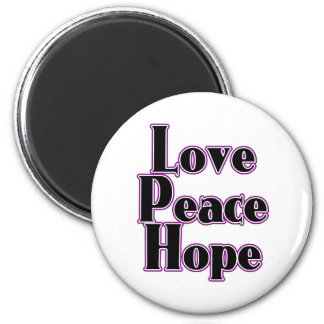 love peace hope  violet 2 inch round magnet
