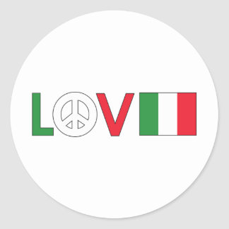 Love Peace Italy Classic Round Sticker