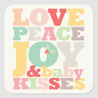 Love Peace Joy Baby Kisses 1st Christmas Sticker