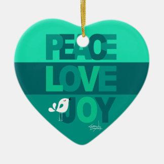 Love Peace Joy Birdy Christmas   aqua teal Ceramic Ornament