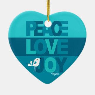 Love Peace Joy Birdy Christmas   blue teal Ceramic Ornament