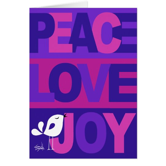 Love Peace Joy Birdy Christmas | blue violet Card