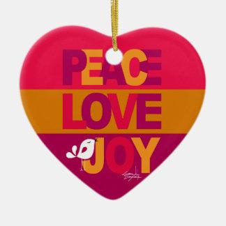 Love Peace Joy Birdy Christmas   gold purple Ceramic Ornament
