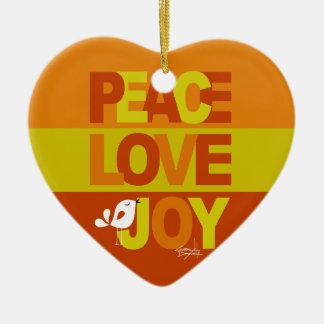 Love Peace Joy Birdy Christmas   orange yellow Ceramic Ornament