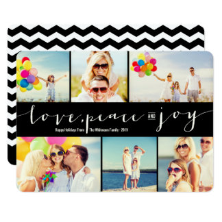 Love Peace Joy Black 6 Photo Collage Holiday Card