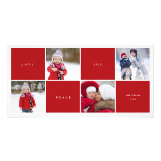 Love Peace Joy Blocks Photo Collage Holiday Card