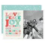 Love Peace Joy First Christmas Mr & Mrs Photo Card
